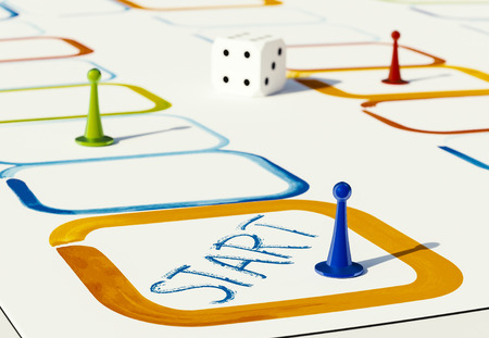 pawns: plastic pawns for board games in various colors 3d illustration on white background Stock Photo