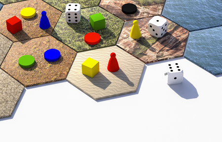 hexagonal board game with pawns and dices 3d illustration on white background