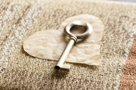 On Valentines Day you get a key to my heart on linen background Stock Photo