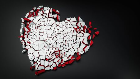 broken heart of the ice with copy space 3d illustration