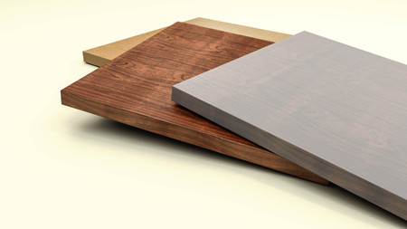 timbering: Wooden furniture boards with copy space 3d illustration Stock Photo