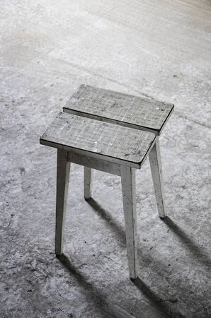 stool: abandoned place with wooden stool