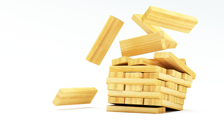 blocks wood game (jenga) on white background with copy space 3d illustration