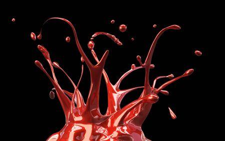 RED shiny car paint splash mirrored on black background 3d illustration
