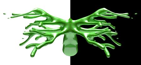 Green shiny car paint splash mirrored on black and white background 3d illustration