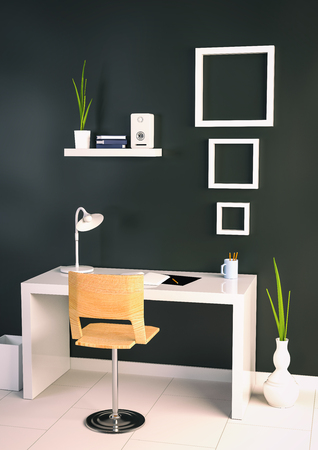 office stuff: 3d illustration of spacious office room in soft light colors in elegant classic modern office. interior design of office