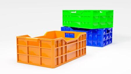 food waste: orange green and blue boxes used in transportation 3d illustration