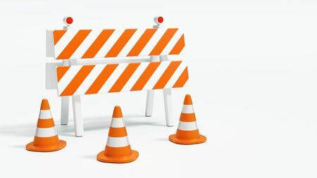 Road barrier with road cones on white background with copy space 3d illustration Stock Photo