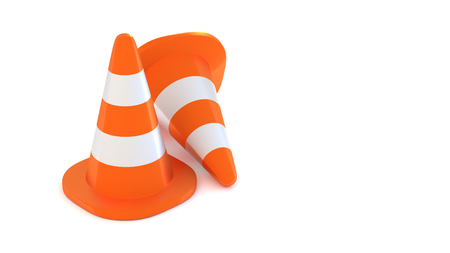 traffic cone on white background 3d illustration
