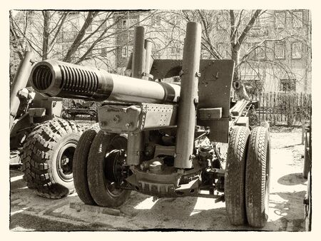recourse: Old photo of cannon from the time of World War II Stock Photo
