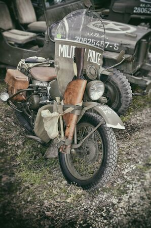 vintage riffle: Military police motorcycle