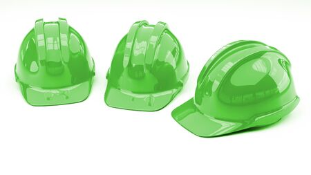 green protective helmet on white background with copy space on left side 3d illustration Stock Photo