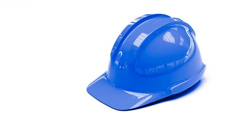blue protective helmet on white background with copy space on left side 3d illustration Stock Photo