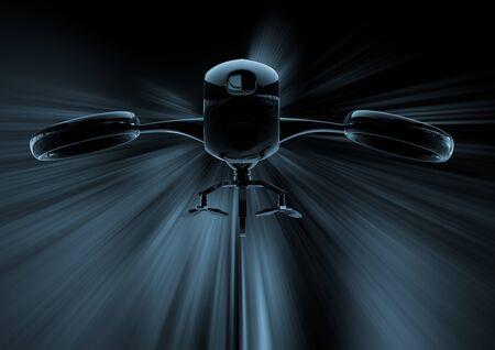 Drone dangereux opéré à distance sur fond noir illustration 3d Banque d'images - 82412067
