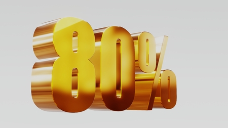 gold eighty percent 80% 3d illustration