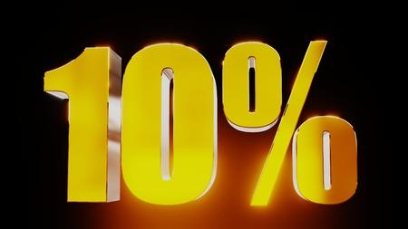 percent sign: gold ten percent 10% 3d illustration