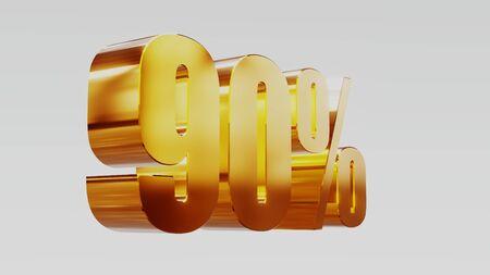 gold ninety percent 90% 3d illustration Stock Photo