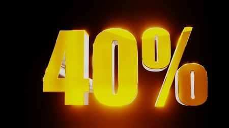 gold forty percent 40% 3d illustration