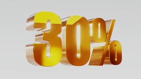 gold thirty percent 30% 3d illustration
