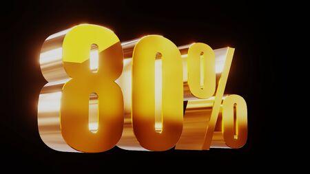 gold eighty percent 80% 3d illustration