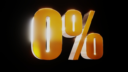 gold zero percent 0% 3d illustration