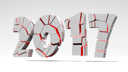 day: End of the year 2017 3d illustration Stock Photo