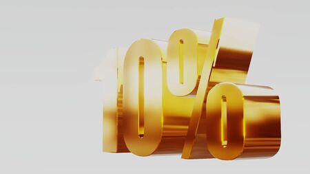 gold ten percent 10% 3d illustration