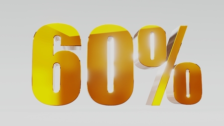 gold sixty percent 60% 3d illustration Stock Photo