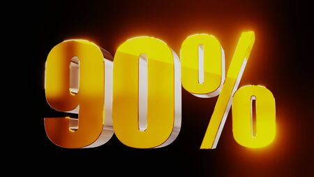 gold ninety percent 90% 3d illustration Stock Photo