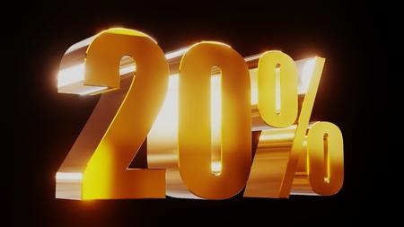 percent sign: gold twenty percent 20% 3d illustration