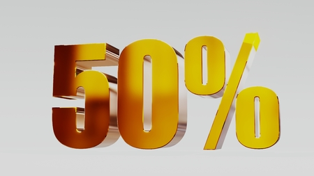 gold fifty percent 50% 3d illustration