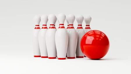 Bowling 3d illustration with copy space