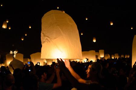 CHIANG MAI, THAILAND - NOVEMBER 16 : Unidentified people play sky lantern on November 16,2013 in Loi -Krathon festival chiang mai, thailand.