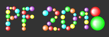 PF 2018 written in balls vector illustration