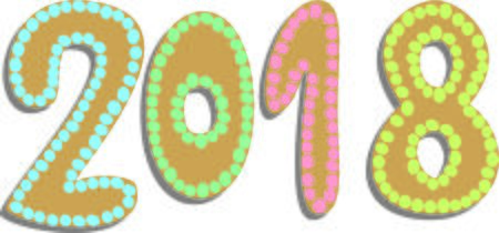 Gingerbread shaped 2018 vector illustration