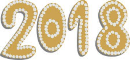 Gingerbread shaped 2018, vector illustration