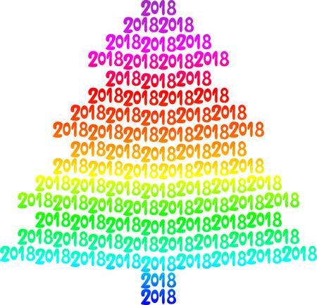Colorful tree written in 2018 vector illustration Illustration