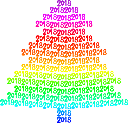 Colorful tree written in 2018 vector illustration Illustration
