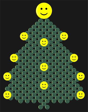 Green christmas tree with smileys vector illustration Illustration