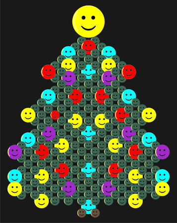 Green christmas tree with colorful smileys on black background. Illustration