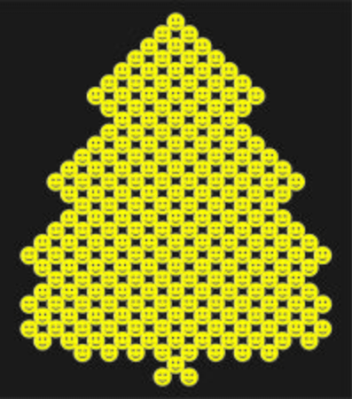 Yellow christmas tree with  smileys on black background.