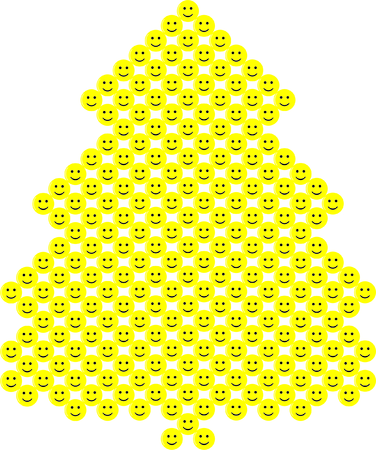 Yellow christmas tree with  smileys on white background. Illustration