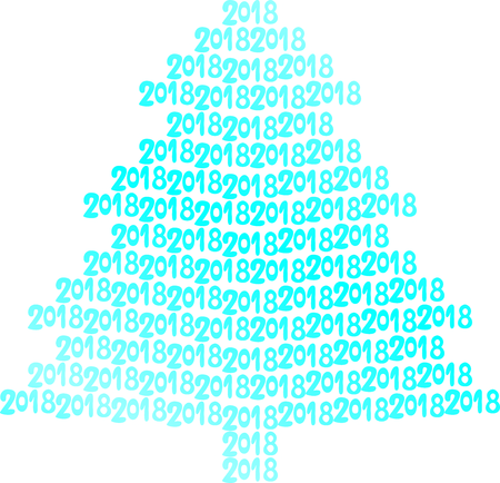 Blue christmas tree on white background.