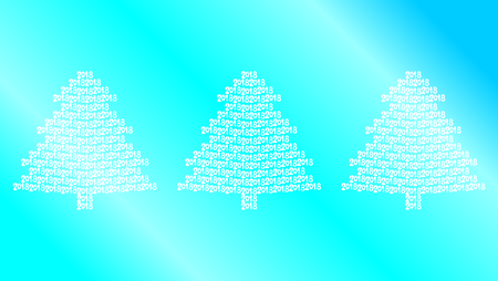 Three white christmas trees on blue background.