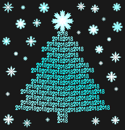 Tree from lettering 2018 with snowflakes on black background Illustration