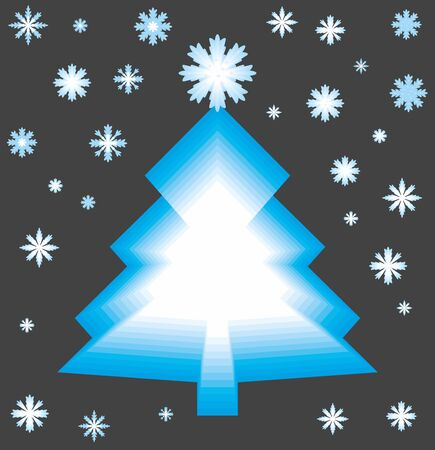 Blue tree with snowflakes on black background. Illustration