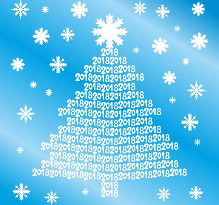 Christmas tree from numbers 2018 on blue background