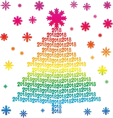 Rainbow Christmas tree from numbers 2018