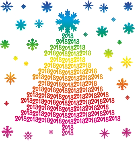 Rainbow Christmas tree from numbers 2018