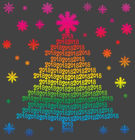Rainbow Christmas tree from numbers 2018 on black background